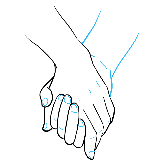 How to Draw Holding Hands Step 09