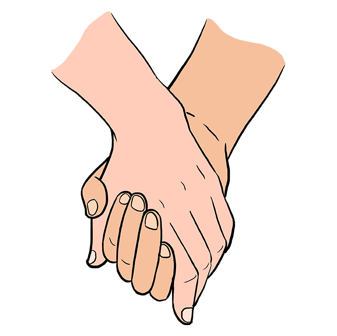 How to Draw Holding Hands: Step 10
