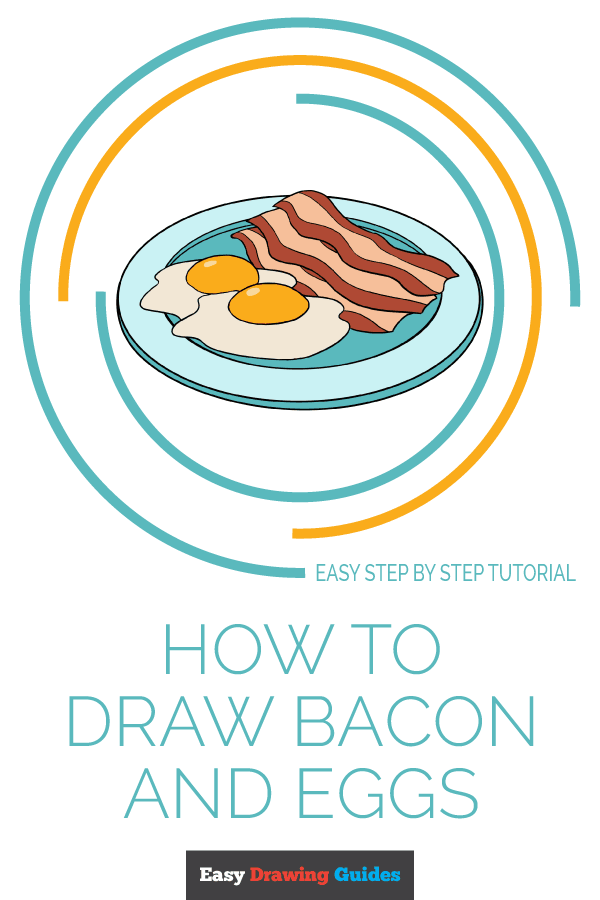 How to Draw Bacon and Eggs | Share to Pinterest