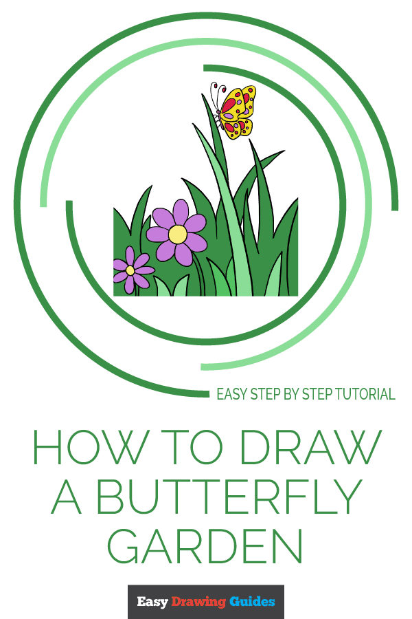 How to Draw Butterfly Garden | Share to Pinterest