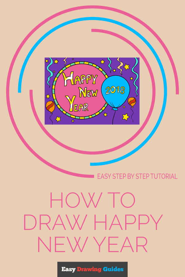 How to Draw Happy New Year 2018 | Share to Pinterest