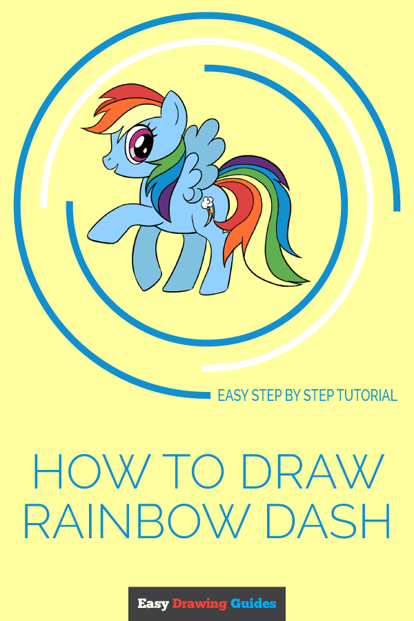 How to Draw Rainbow Dash from Little Pony | Share to Pinterest