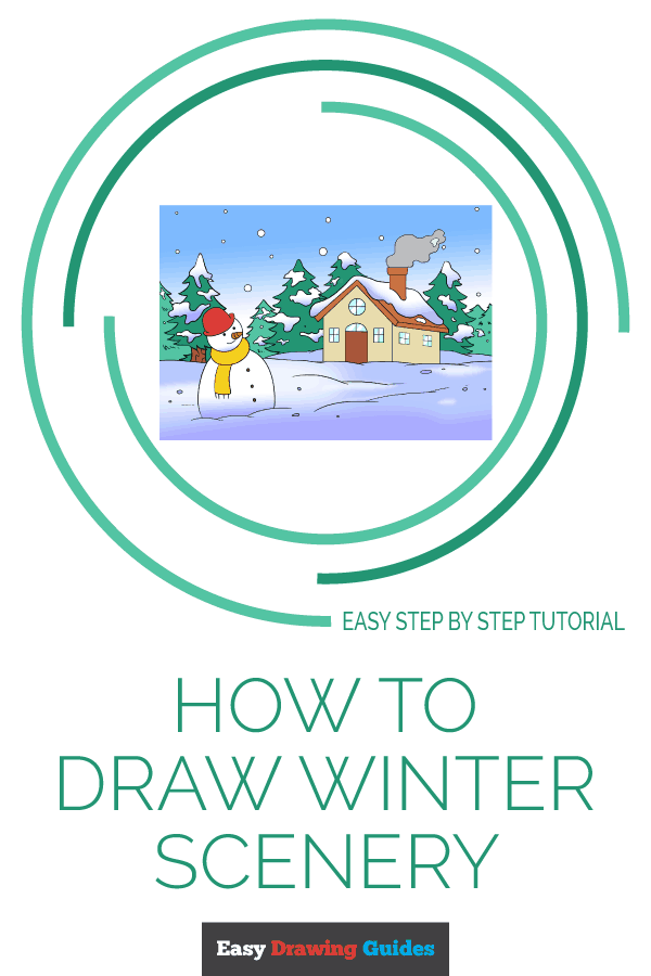 How to Draw Winter Scenery | Share to Pinterest