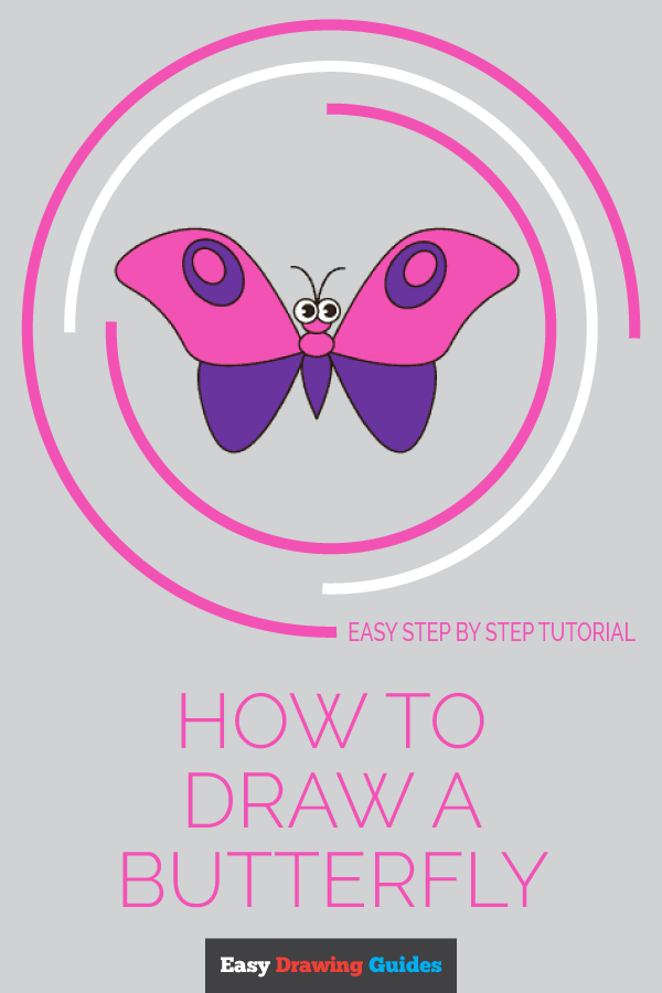 How to Draw Butterfly in Cartoon Style | Share to Pinterest
