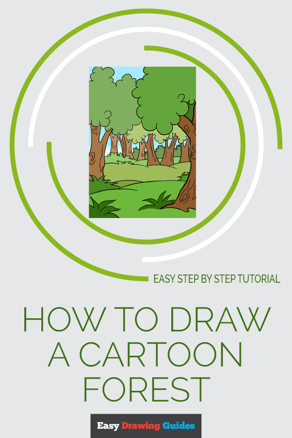 How to Draw a Cartoon Forest | Share to Pinterest
