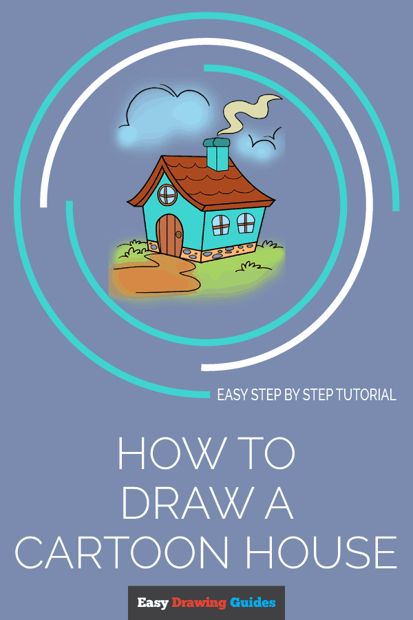 How to Draw a Cartoon House | Share to Pinterest