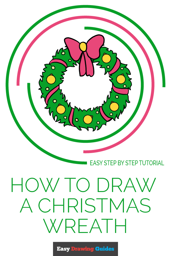 How to Draw Christmas Wreath | Share to Pinterest