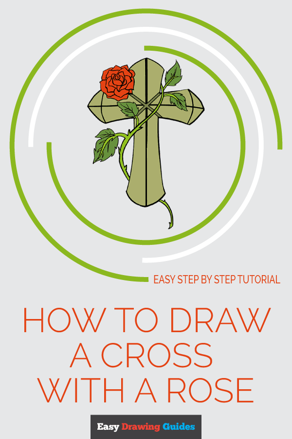 How to Draw Cross with a Rose | Share to Pinterest