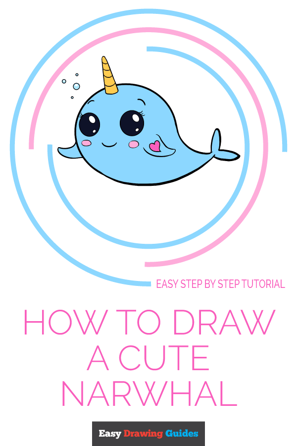 How to Draw Cute Narwhal | Share to Pinterest