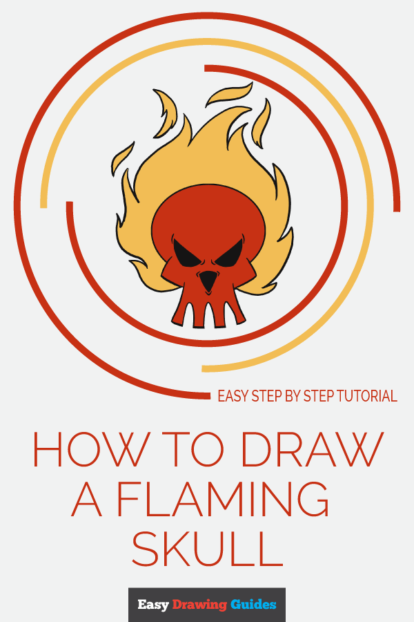 How to Draw Flaming Skull | Share to Pinterest