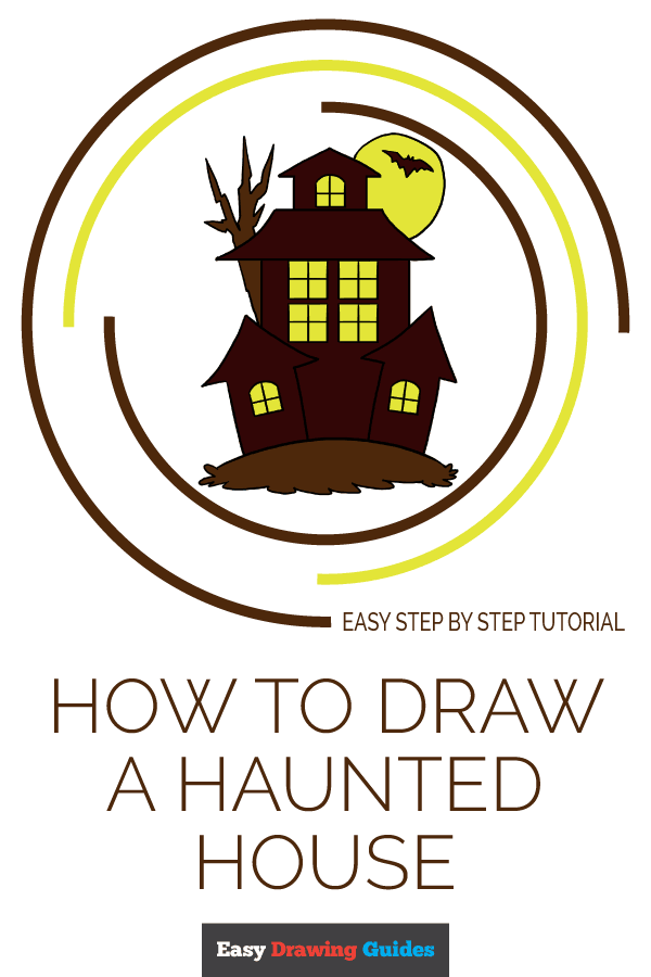 How to Draw Haunted House | Share to Pinterest
