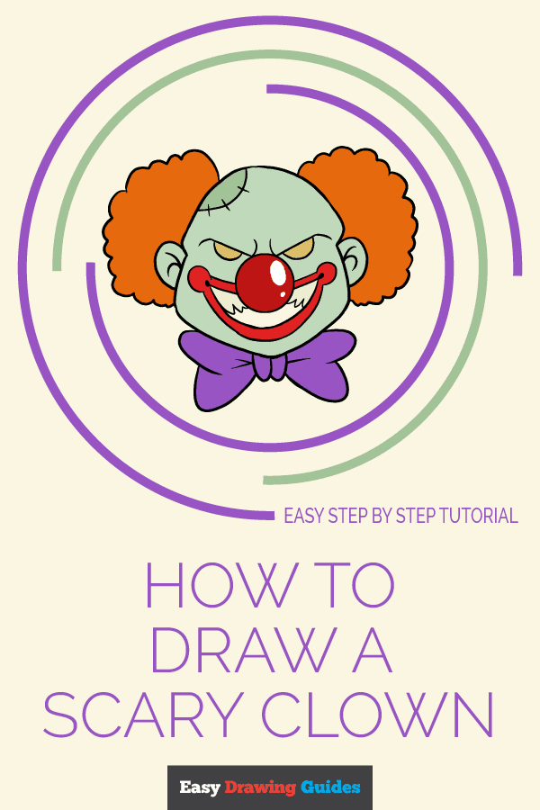 How to Draw Scary Clown | Share to Pinterest