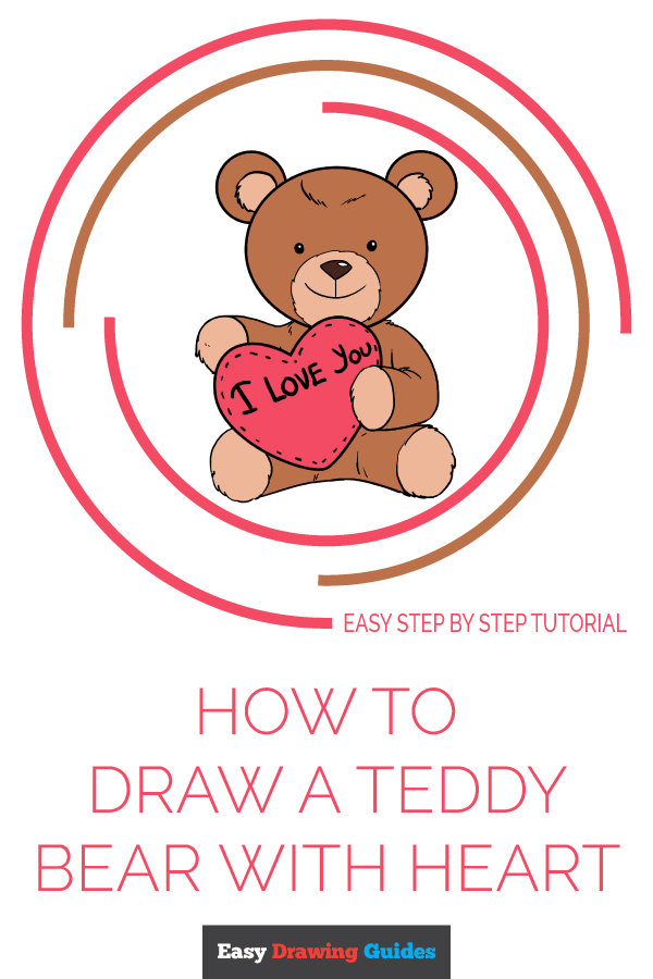 How to Draw Teddy Bear with Heart | Share to Pinterest