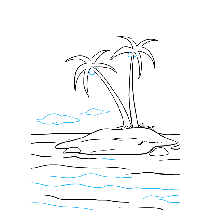 How to Draw Island: Step 9