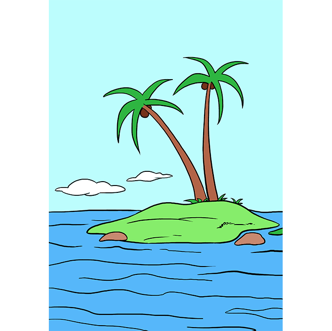 How to Draw Island: Step 10