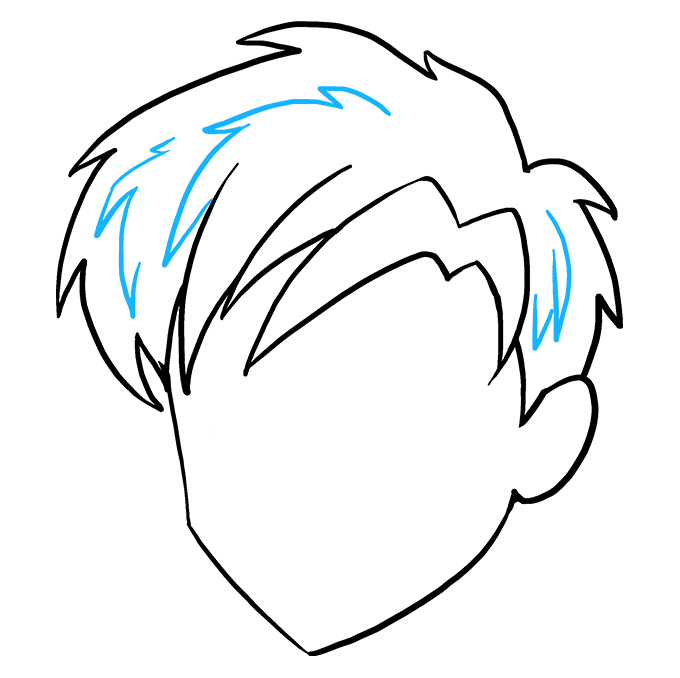 How to Draw Manga Hair: Step 9