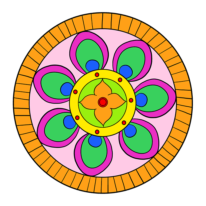 How to Draw Beginner Mandala Step 10