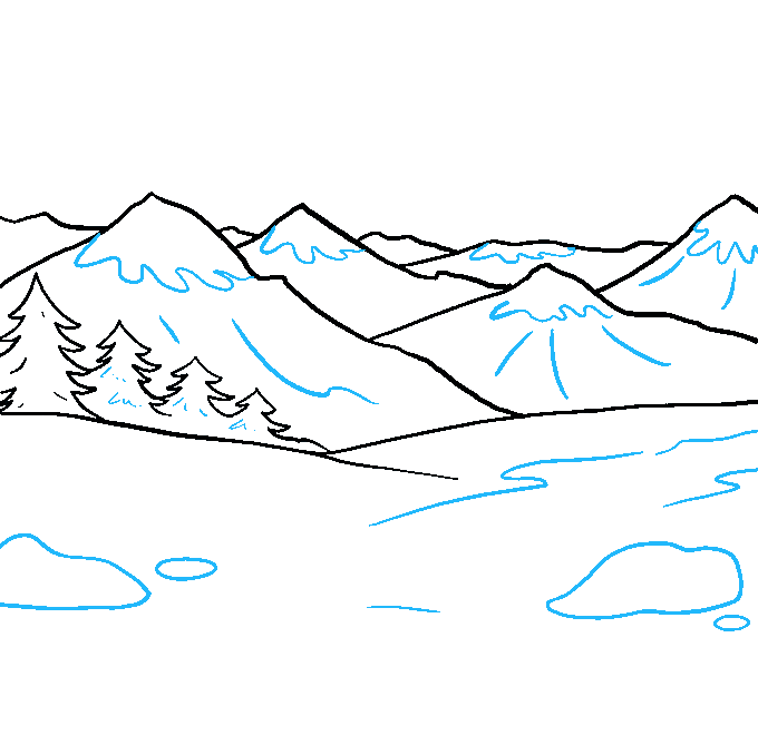 How to Draw a Mountains Step 09