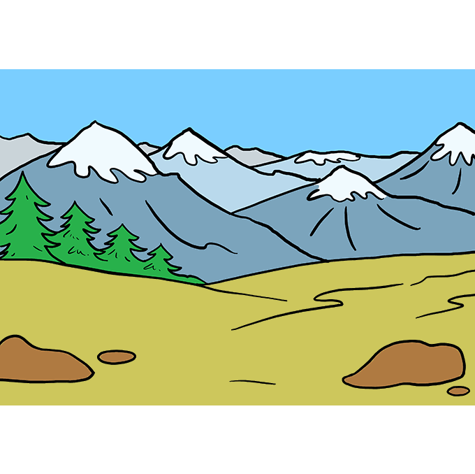 How to Draw a Mountains Step 10