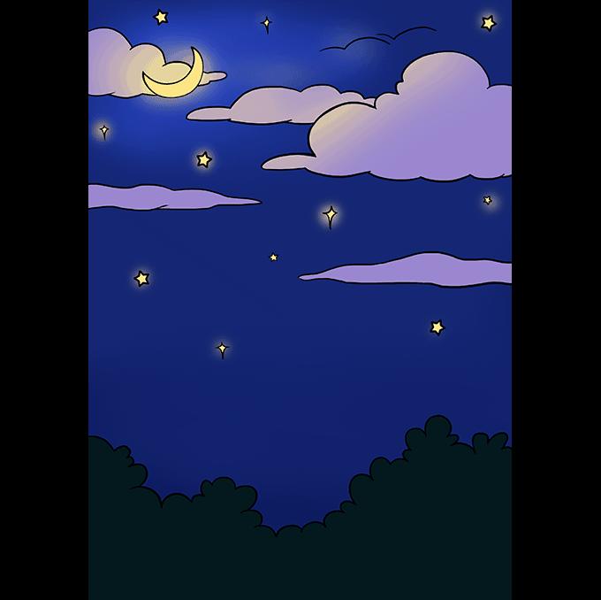 How to Draw Night Sky: Step 10