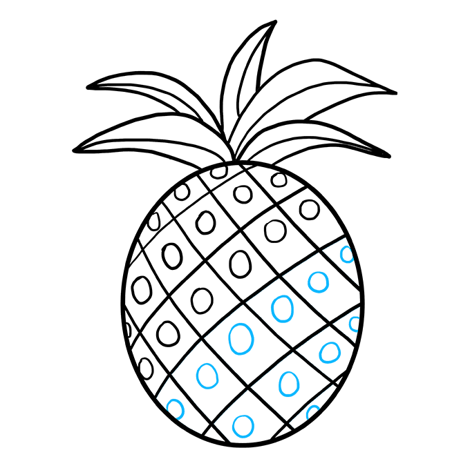 How to Draw Pineapple: Step 9