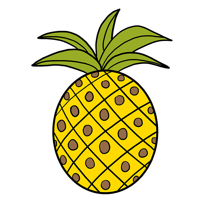 How to Draw Pineapple: Step 10