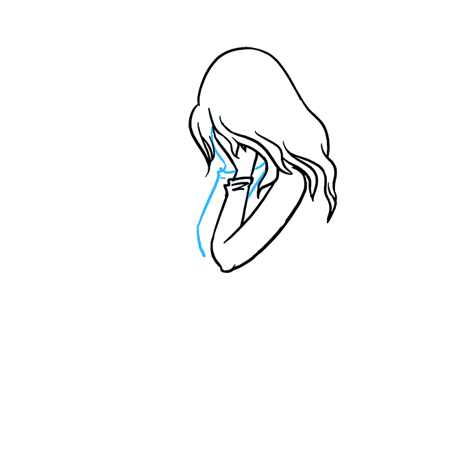 How to Draw Sad Girl Crying: Step 3