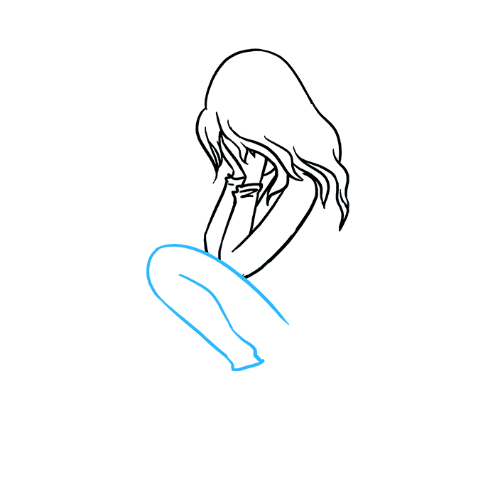 How to Draw Sad Girl Crying: Step 4