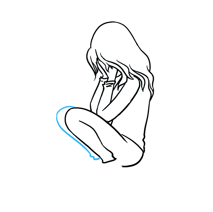 How to Draw Sad Girl Crying: Step 6