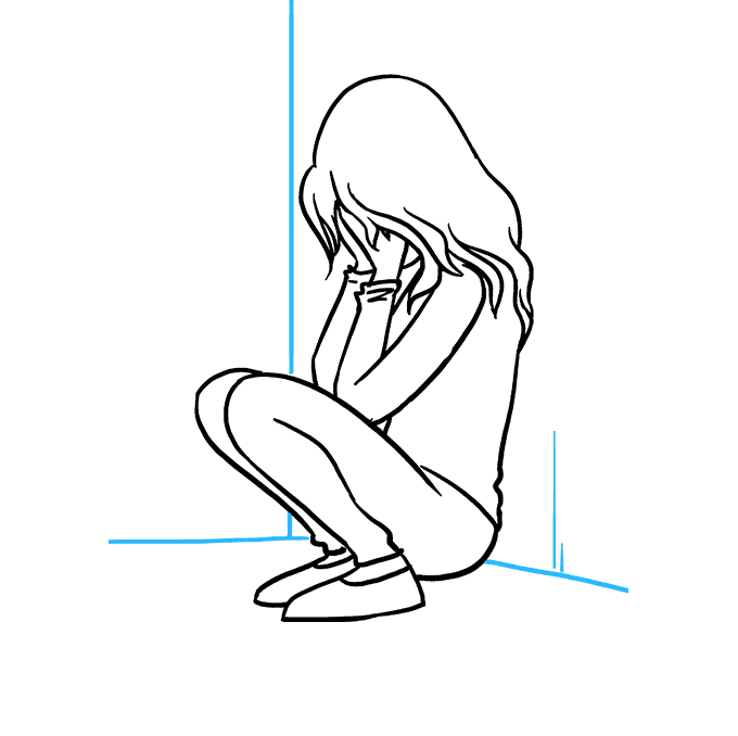 How to Draw Sad Girl Crying: Step 9