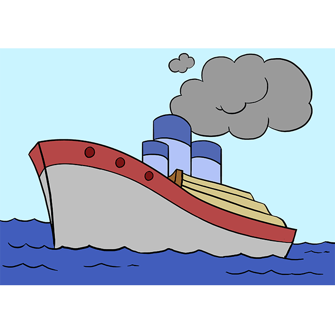 How to Draw Ship: Step 10