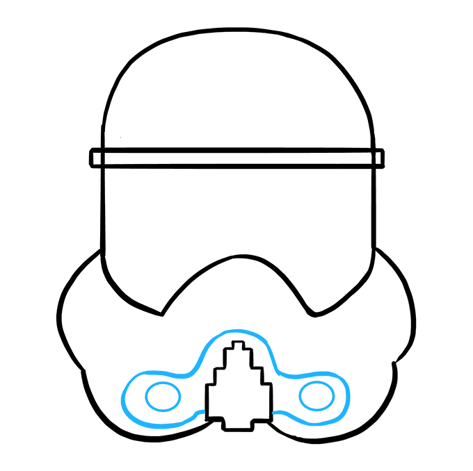 How to Draw Stormtrooper Helmet: Step 7