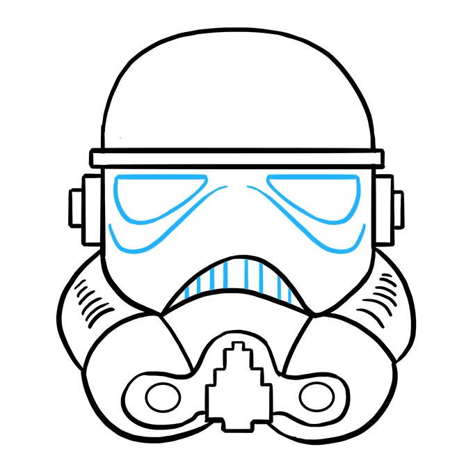 How to Draw Stormtrooper Helmet: Step 9