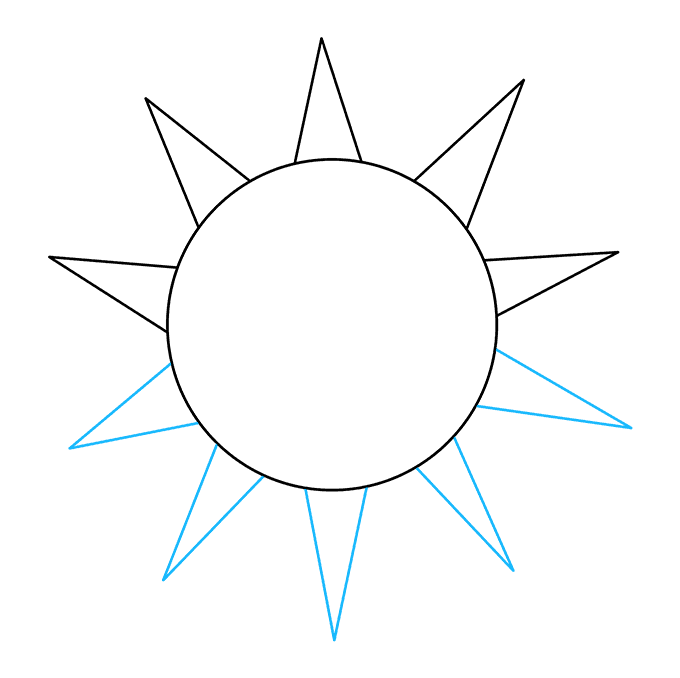 How to Draw Sun: Step 3