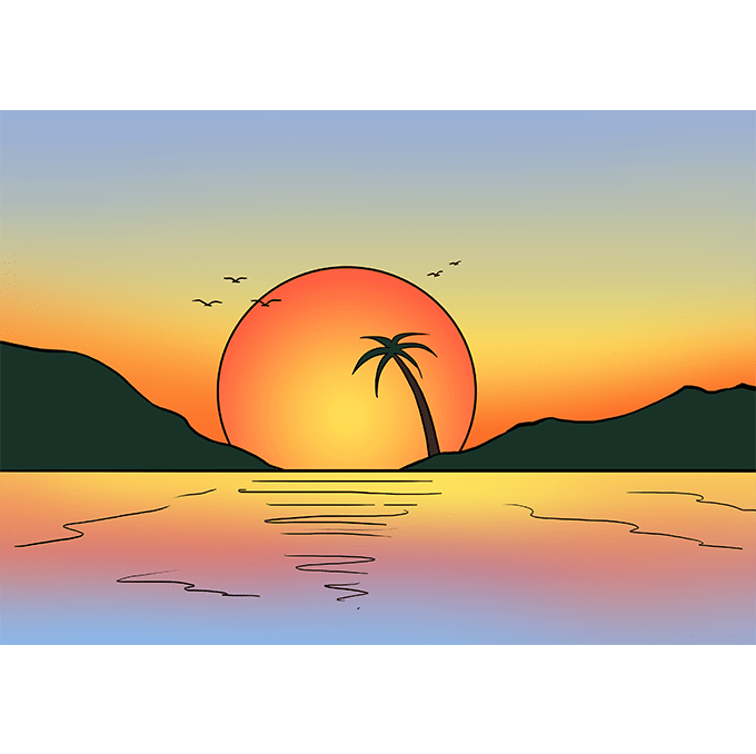 How to Draw Sunset: Step 10