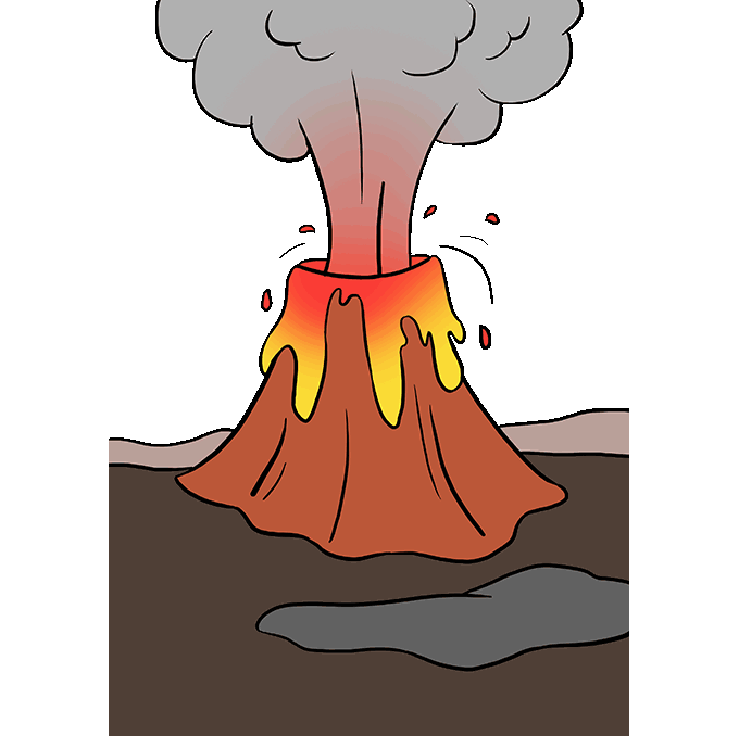 How to Draw Volcano Step 10