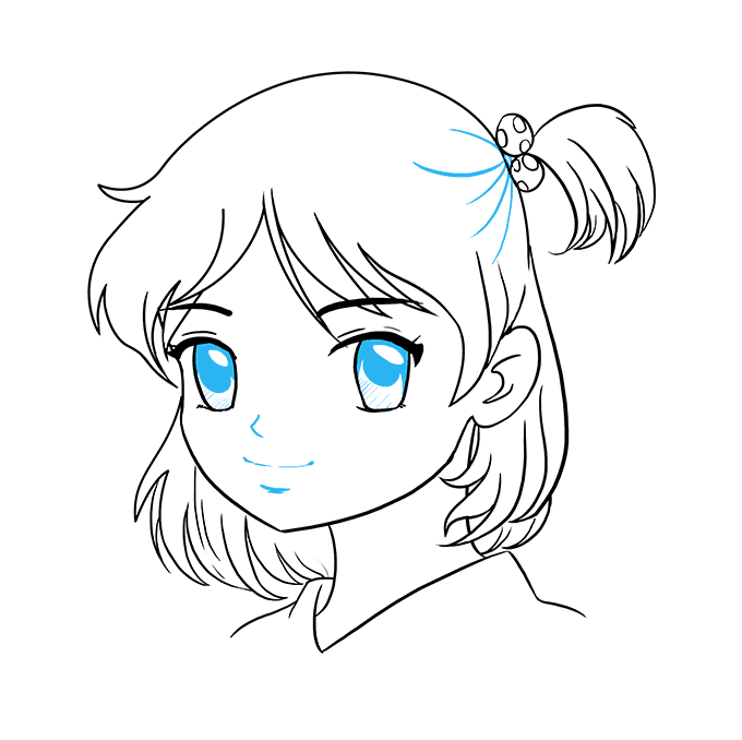 How to Draw Anime Girl Face: Step 9