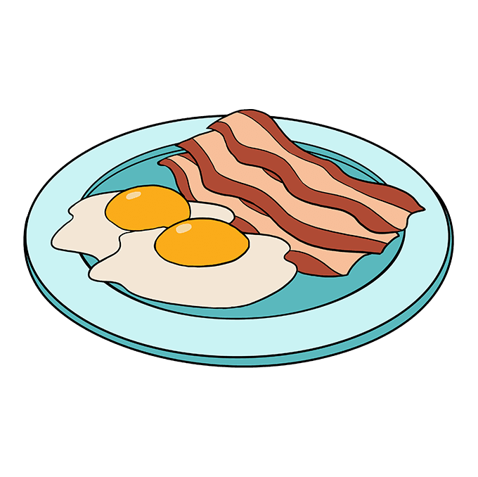 How to Draw Bacon and Eggs: Step 10