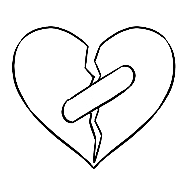 How to Draw Broken Heart: Step 6