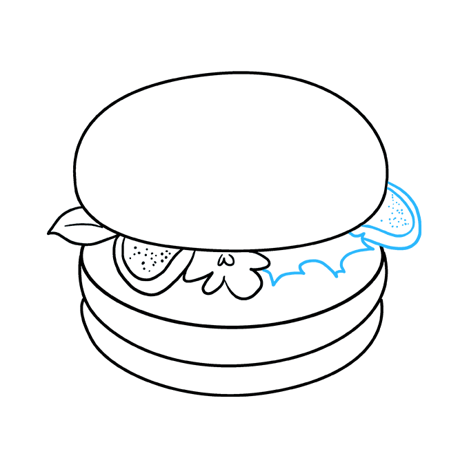 How to Draw a Burger Step 07