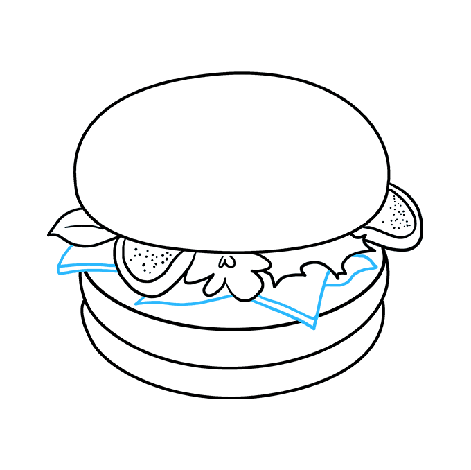 How to Draw a Burger Step 08