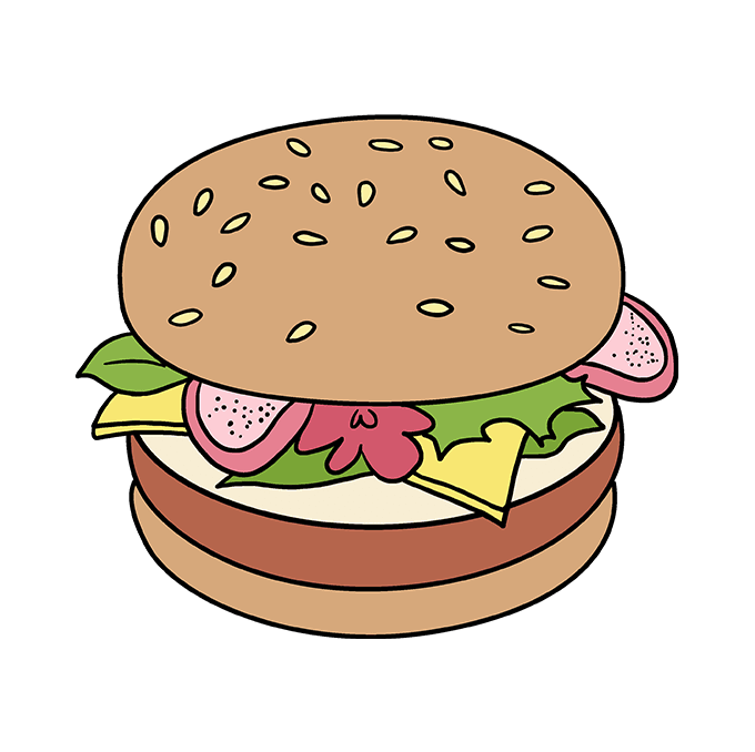 How to Draw a Burger Step 10