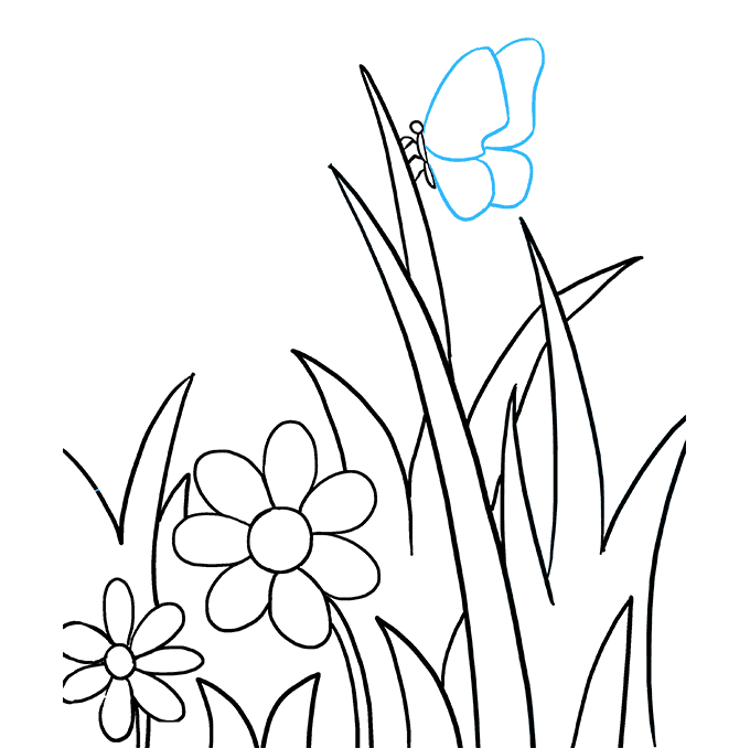 How to Draw Butterfly Garden Step 08