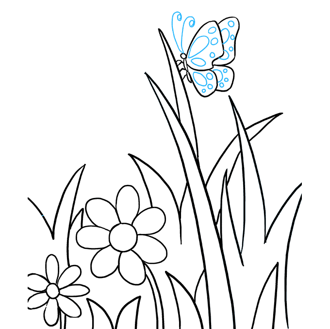 How to Draw Butterfly Garden Step 09