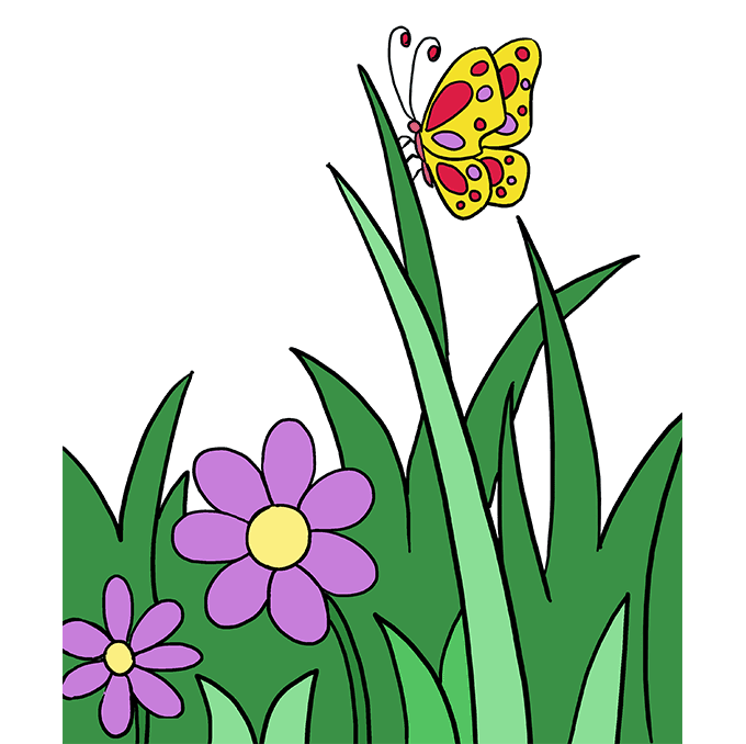 How to Draw Butterfly Garden Step 10
