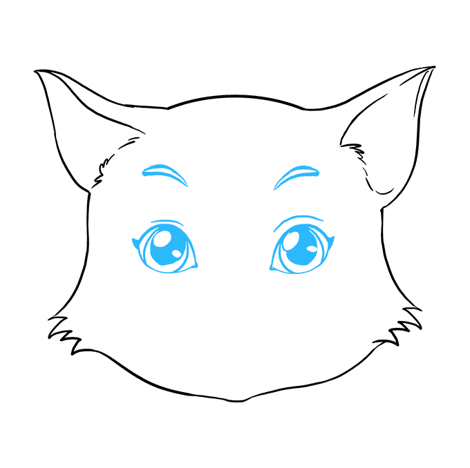 How to Draw a Cat Face Step 07