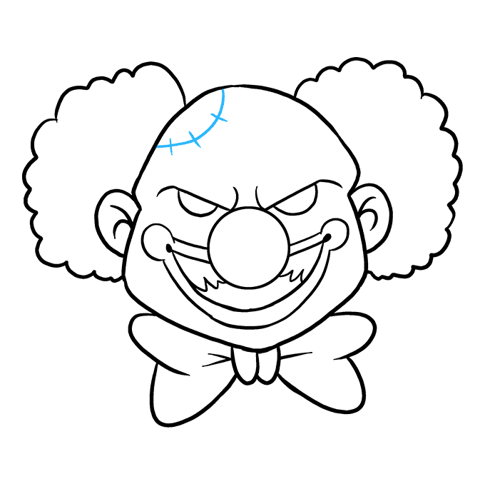 How to Draw Scary Clown: Step 9