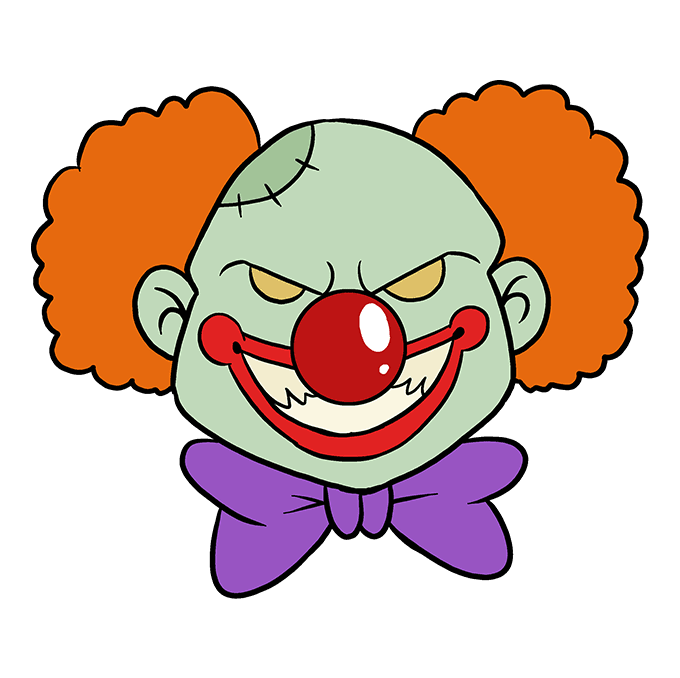 How to Draw Scary Clown: Step 10