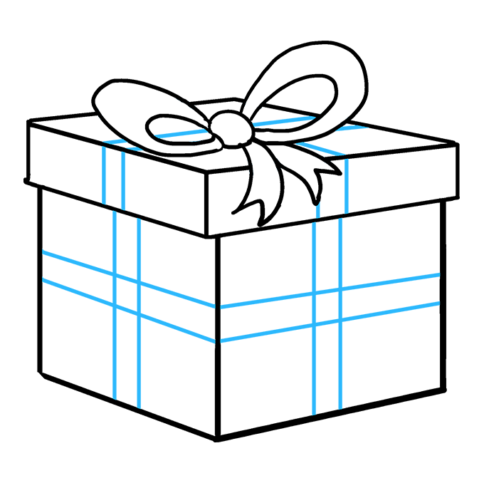 How to Draw Christmas Present: Step 9