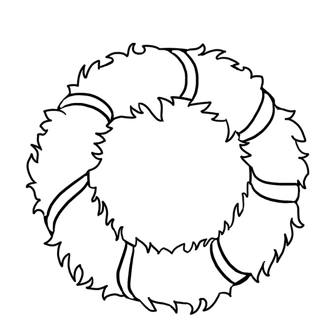 How to Draw Christmas Wreath Step 05